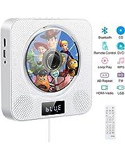 Lettore DVD portatile CD, lettore CD/DVD musicale Bluetooth con montaggio a parete con 4K HDMI, altoparlanti HiFi, radio FM USB MP3, jack per cuffie da 3,5 mm, regali per la casa (white)