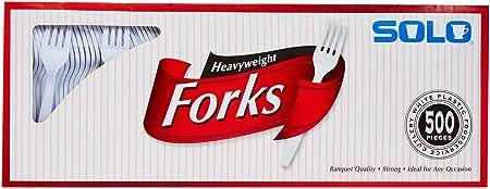 SOLO Plastic Forks, White, 500 Ct Tej
