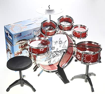 Cymbal 11pc XXL Drum Set Toy For Children Musical Instrument Includes Set Drums Kick Pedal Drumsticks