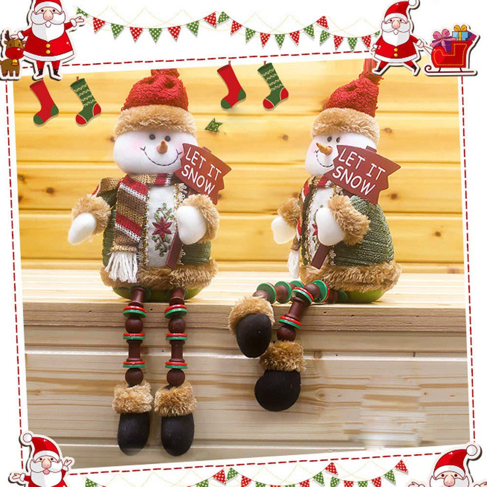 Gbell クリスマスオーナメント サンタクロース 座る磁器 雪だるま クリスマスデコレーション 子供 女の子 男の子 寝室 バルコニー窓 オフィス 子供部屋 レストラン ポーチ パビリオン 棚 M GBDD000542496549 B07J4PR186  B