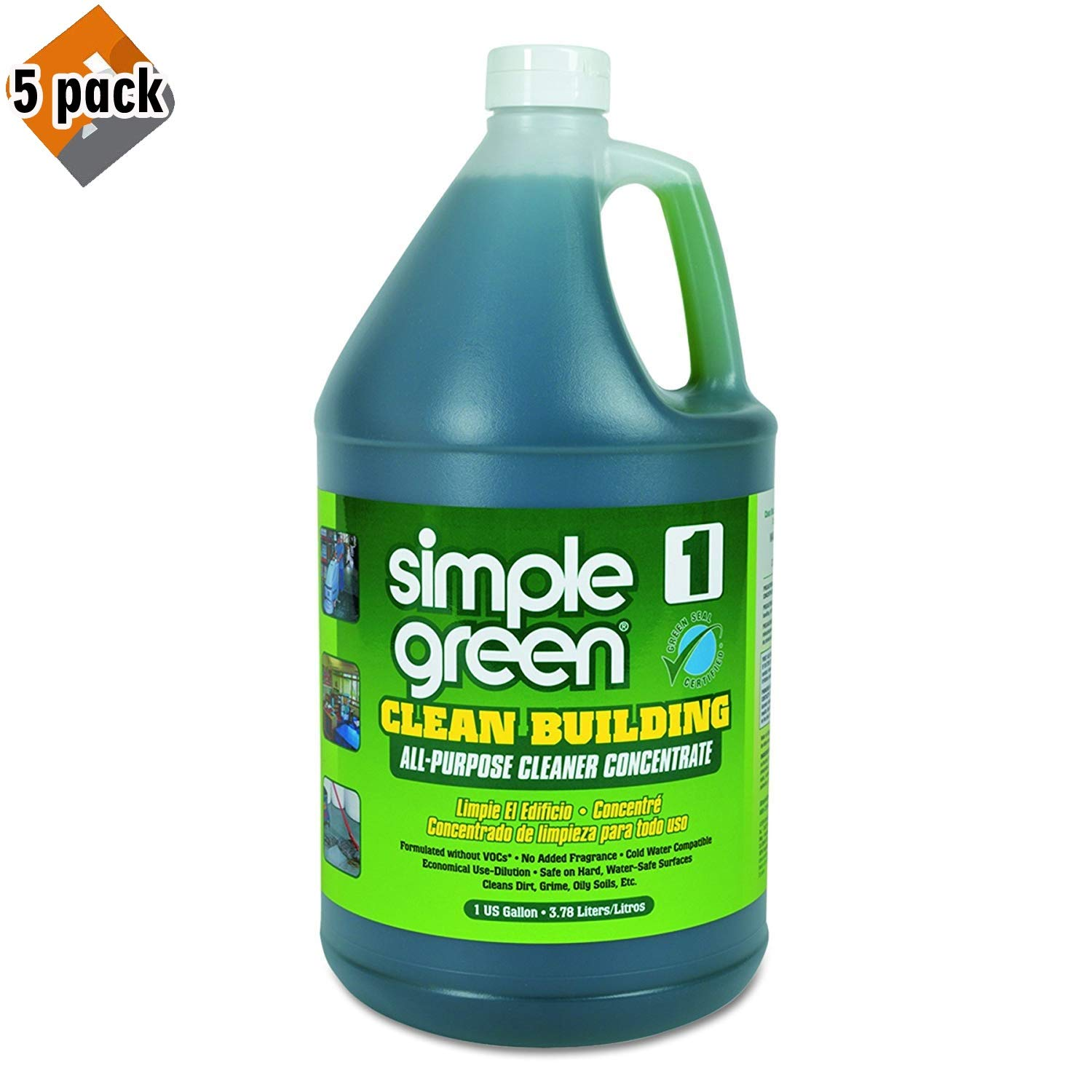 Simple Green Industrial SMP11001 Clean Building All-Purpose Cleaner Concentrate, 1gal Bottle - 5 Pack by Simple Green Industrial (Image #1)