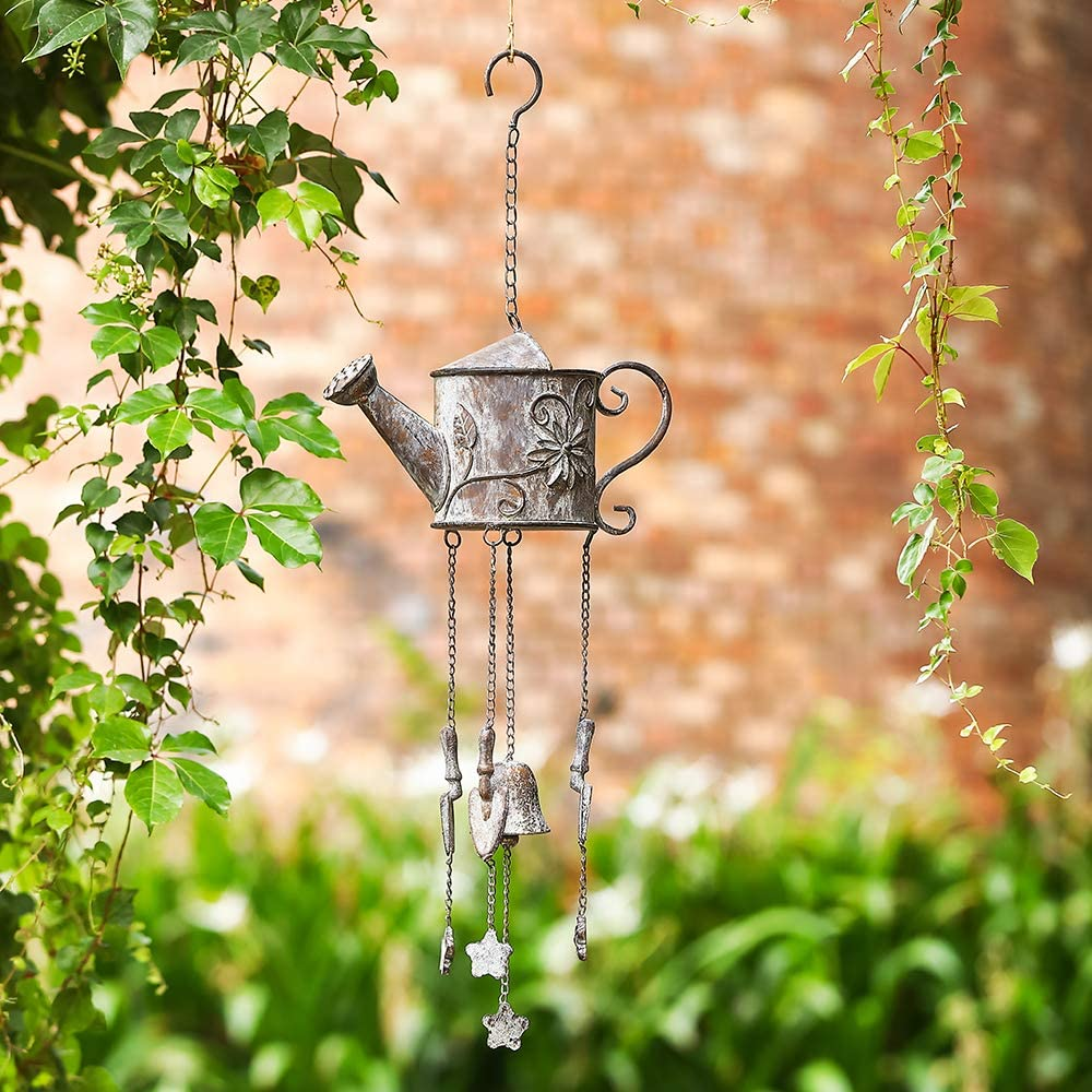 MOCOME Outdoor Bell Wind Chime, Unique Watering Can with Flower Design, Heavy Duty Metal Windchimes Country Hanging Decor for Outside Garden(Weathered)