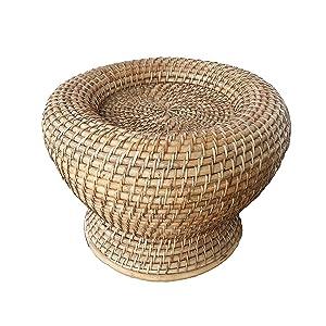 "Northeast Handicrafts Handmade Cane Round Moda Stool (Height 17"" x Width 12"")"