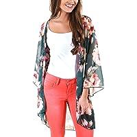 61a3147510 DREAGAL Women's Floral Chiffon Kimono Cardigan Summer Beachwear Swimsuit  Cover up Multicolored S-3XL
