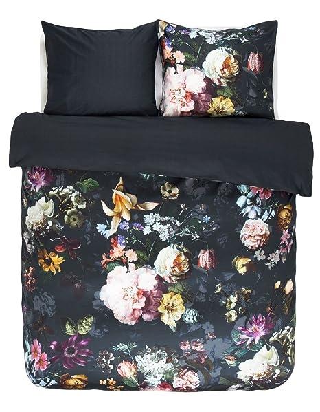 Essenza Mako Satin Bettwäsche Fleur Nightblue 200x200 Cm 2x 80x80