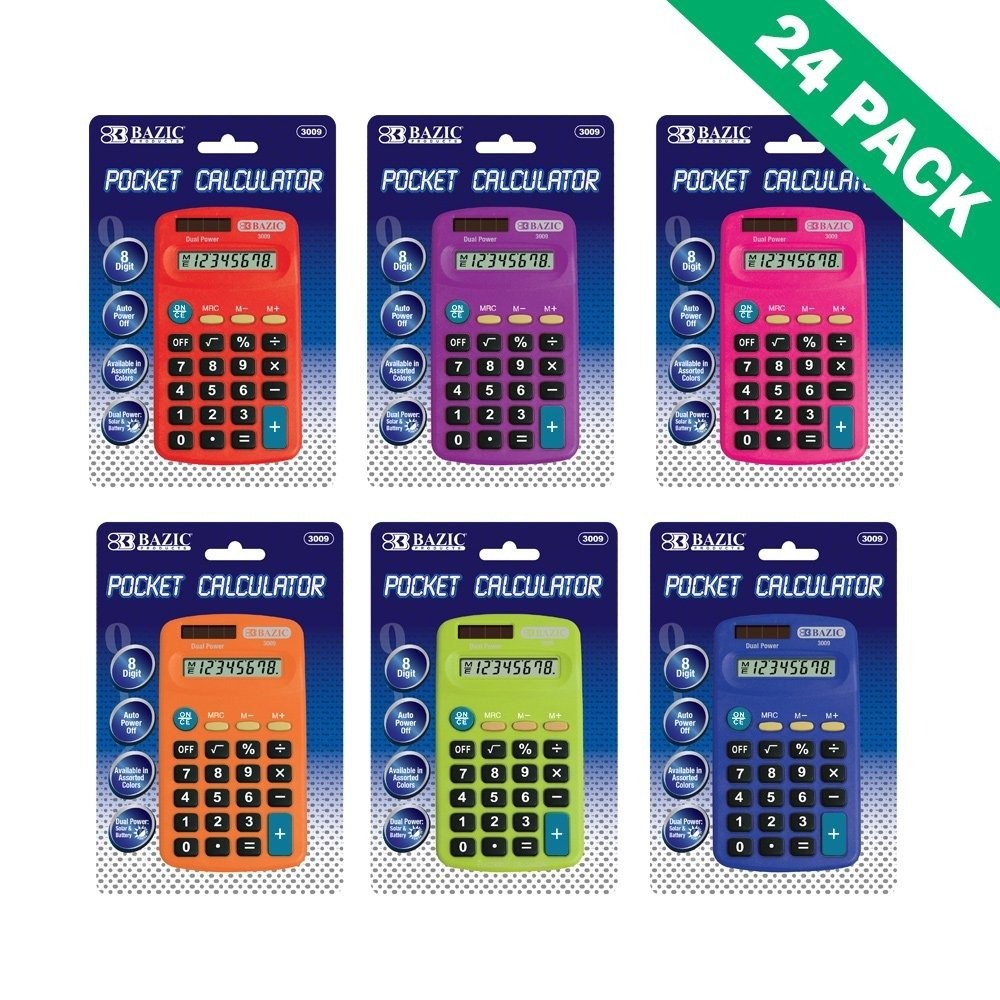 Office Calculator, Pocket Solar And Battery Powered Office 8-digit Calculator by BAZIC-PRODUCTS