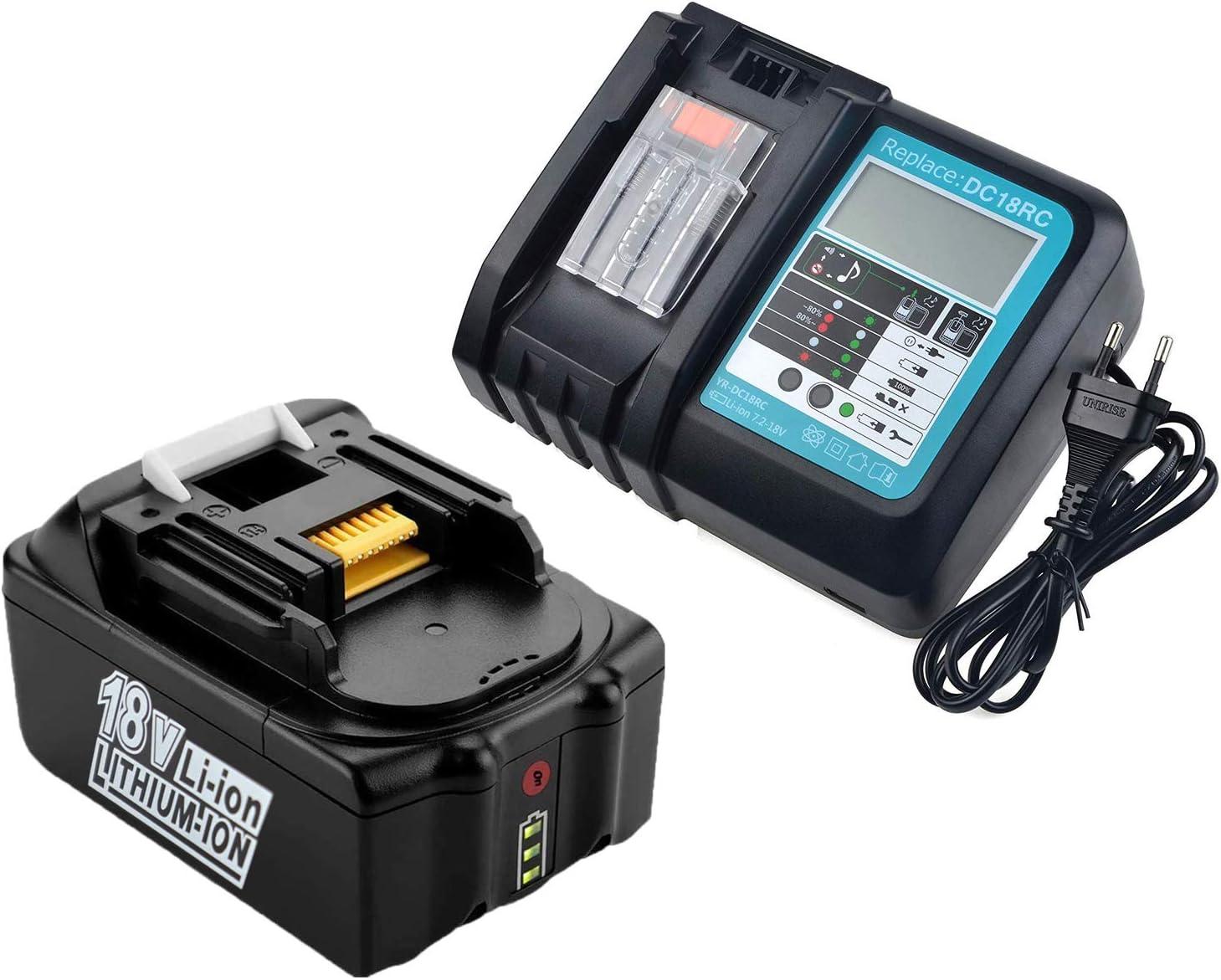 18V 5,0Ah BL1850B Batería con Cargador DC18RC Makita Reemplazo para Makita BL1850 BL1850B BL1860B BL1840 BL1830 BL1815 194204-5