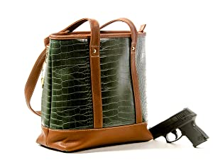 Goson Concealed Carry Purse PU Leather Crocodile Print Locking CCW Gun Bag