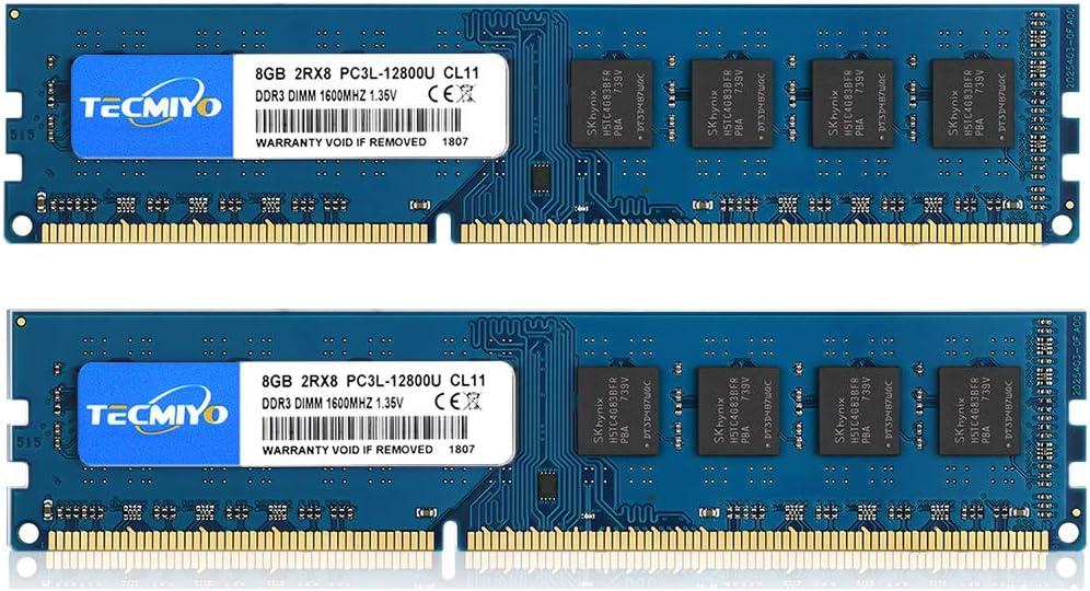 TECMIYO 16GB Kit (2x8GB) DDR3 / DDR3L 1600MHz UDIMM, PC3-12800 DIMM, PC3 / PC3L-12800U Non ECC Unbuffered 1.35V/1.5V CL11 2RX8 Dual Rank 240 Pin Desktop RAM Computer Memory Module