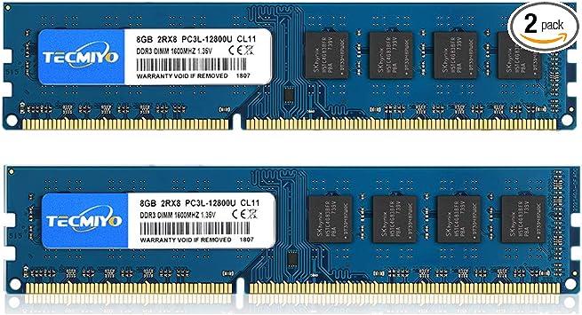 Total 16GB 2 8GB Memory Chips Crucial CT2K102464BD160B Desktop 16GB DDR3L RAM