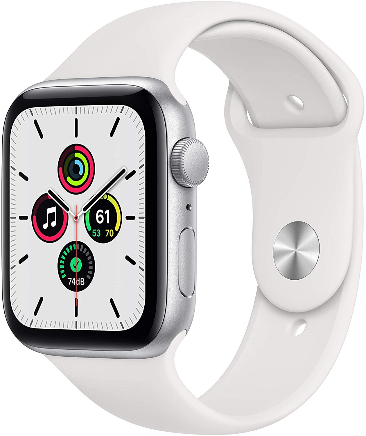 New Apple Watch SE (GPS, 44mm) - Silver Aluminum Case with White Sport Band (Renewed)