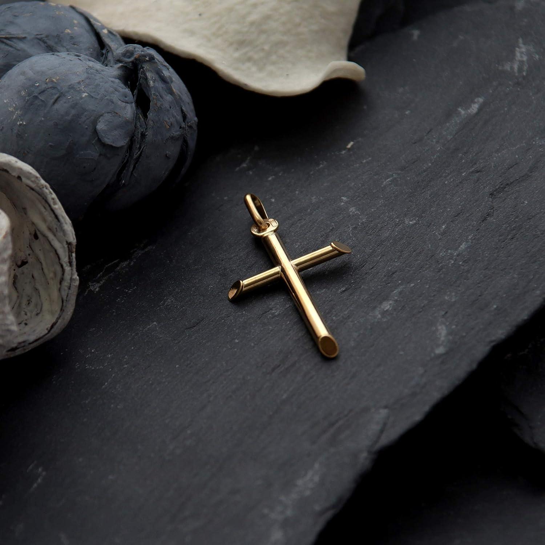 Croix en or massif 9/carats/avec coffret cadeau 18 x 30/mm