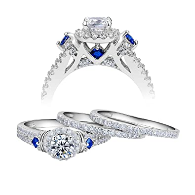 Amazon Com Newshe Wedding Engagement Ring Set For Women 925