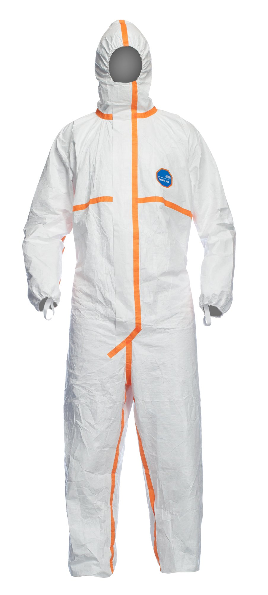 DuPont Tyvek 800J TJ198T Chemical Protective Coverall Suit, CE Certified, Cat III, Type 3/4/5/6, Sealed Bag, 4X-Large, White