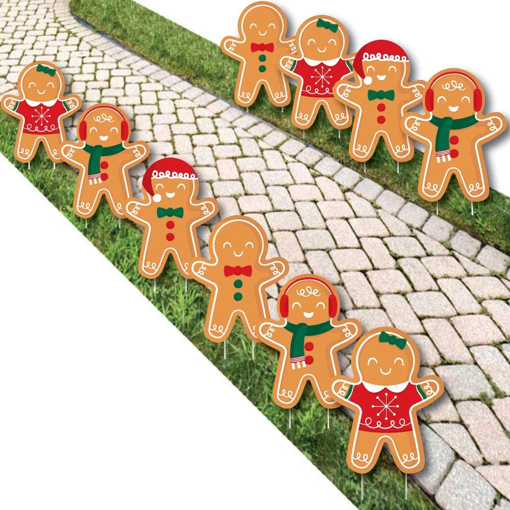 Big Dot of Happiness Gingerbread Christmas - Lawn Decorations - Outdoor Gingerbread Man Holiday Party Yard Decorations - 10 Piece