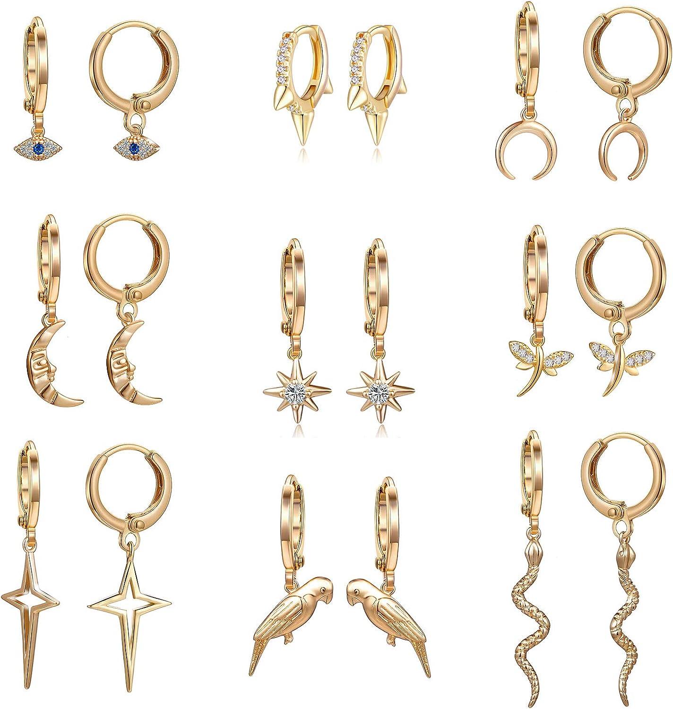 Valloey Rover Dainty Dangle Hoop Earring for Women 14K Gold Plated Star//Evil Eye//Spike Charm Huggie Hoop Earrings Cute Hoop Sleeper Earrings Gifts for Her