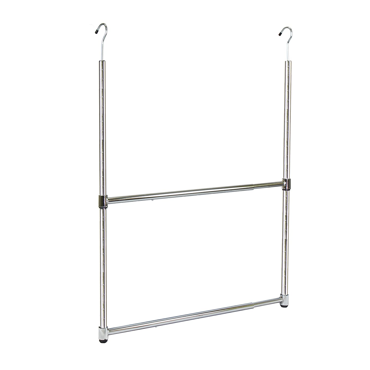 Oceanstar 2-Tier Portable Adjustable Closet Hanger Rod, Chrome