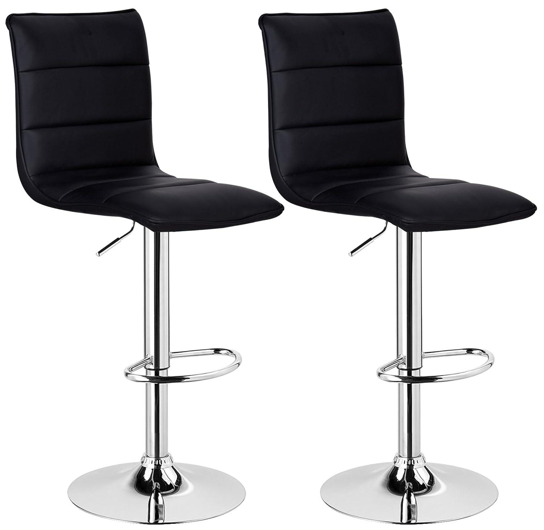 WOLTU BH15sz-2 Design Hocker mit Griff, 2er Set, stufenlose Höhenverstellung, verchromter Stahl, Antirutschgummi, Pflegeleichter Kunstleder, gut gepolsterte Sitzfläche, schwarz