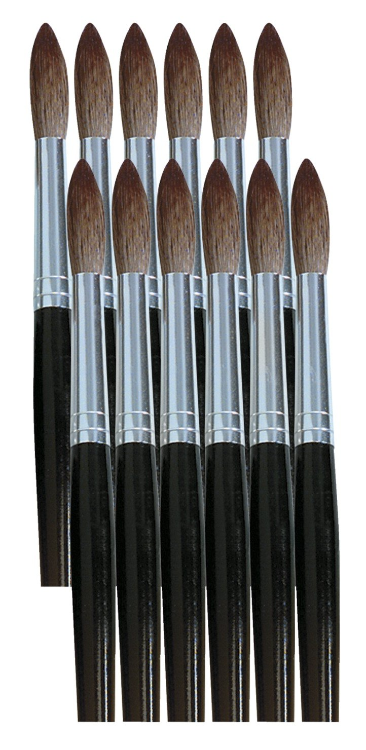 School Smart Long Handle Watercolor Brushes, Round, Size 12, Pack of 12