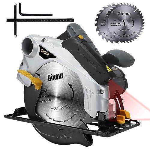 Sierra Circular Ginour 1500W 4700RPM Corte 67mm 90 46mm 45 Sierra Circular de Mano 2 Hojas de 190mm de 24T 40T Guía Laser Soplador de Polvo Doble Interruptor para Madera Metal Blando