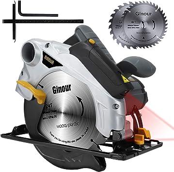 Sierra Circular, Ginour 1500W 4700RPM Corte 67mm (90°), 46mm (45 ...