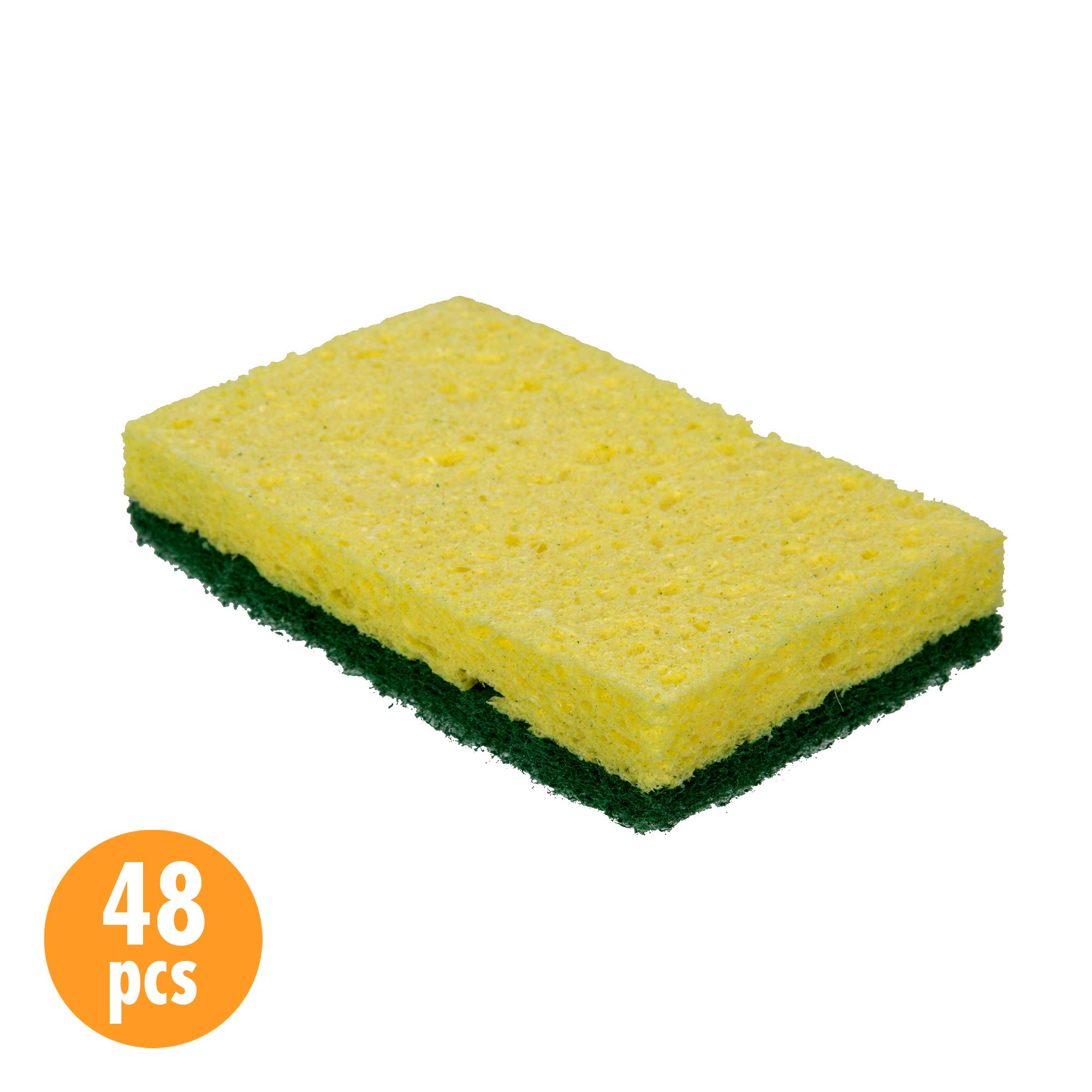 CTG Cellulose Scrub Sponges 4.25 x 2.75 inches 48 Pieces, Yellow/Green
