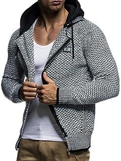 LEIF NELSON Men's Knit Jacket with Hood Knitt Zip Up