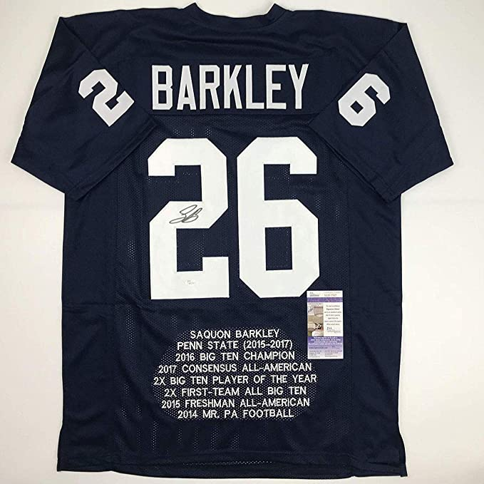 29f705c1709 Autographed/Signed Saquon Barkley Penn State Blue Stat College Football  Jersey JSA COA at Amazon's Sports Collectibles Store