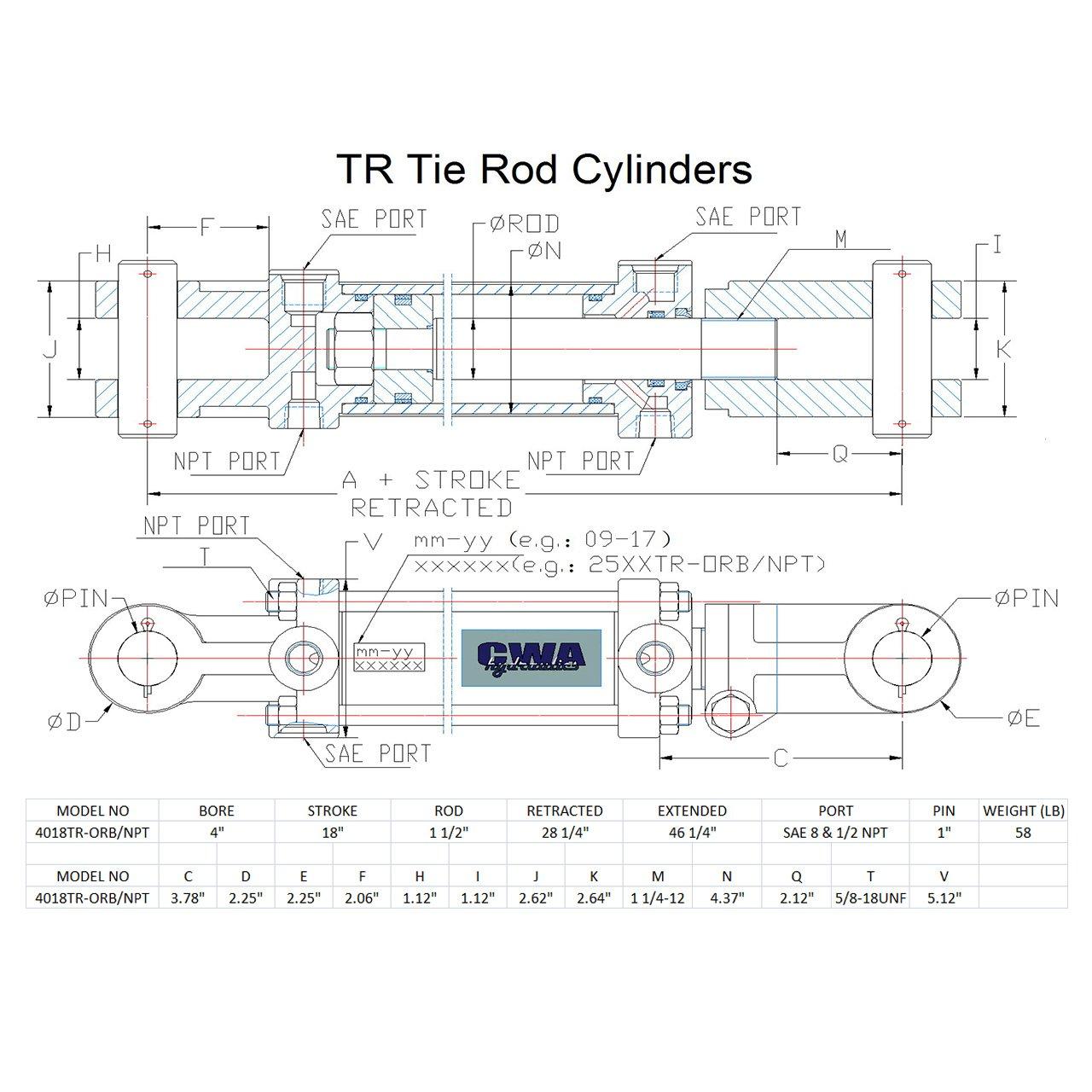 SAE 8 and 1//2 NPT C4018TR-ORB//NPT CWA Hydraulics TR Tie Rod Hydraulic Cylinder 4 Bore x 18 Stroke x 1 1//2 Rod x 2500 PSI Port