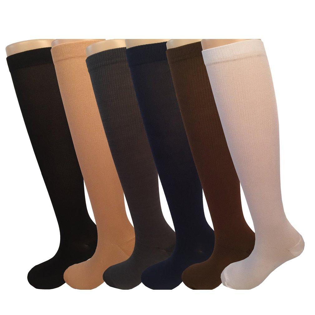 6 Pairs Graduated Compression Socks For Women Running Hiking Bike Travel Socks 8-15mmHg (Assorted) -L/XL