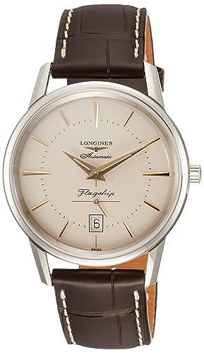 Longines Reloj Analógico para Hombre de Cuarzo con Correa en Cuero L47954782: Amazon.es: Relojes