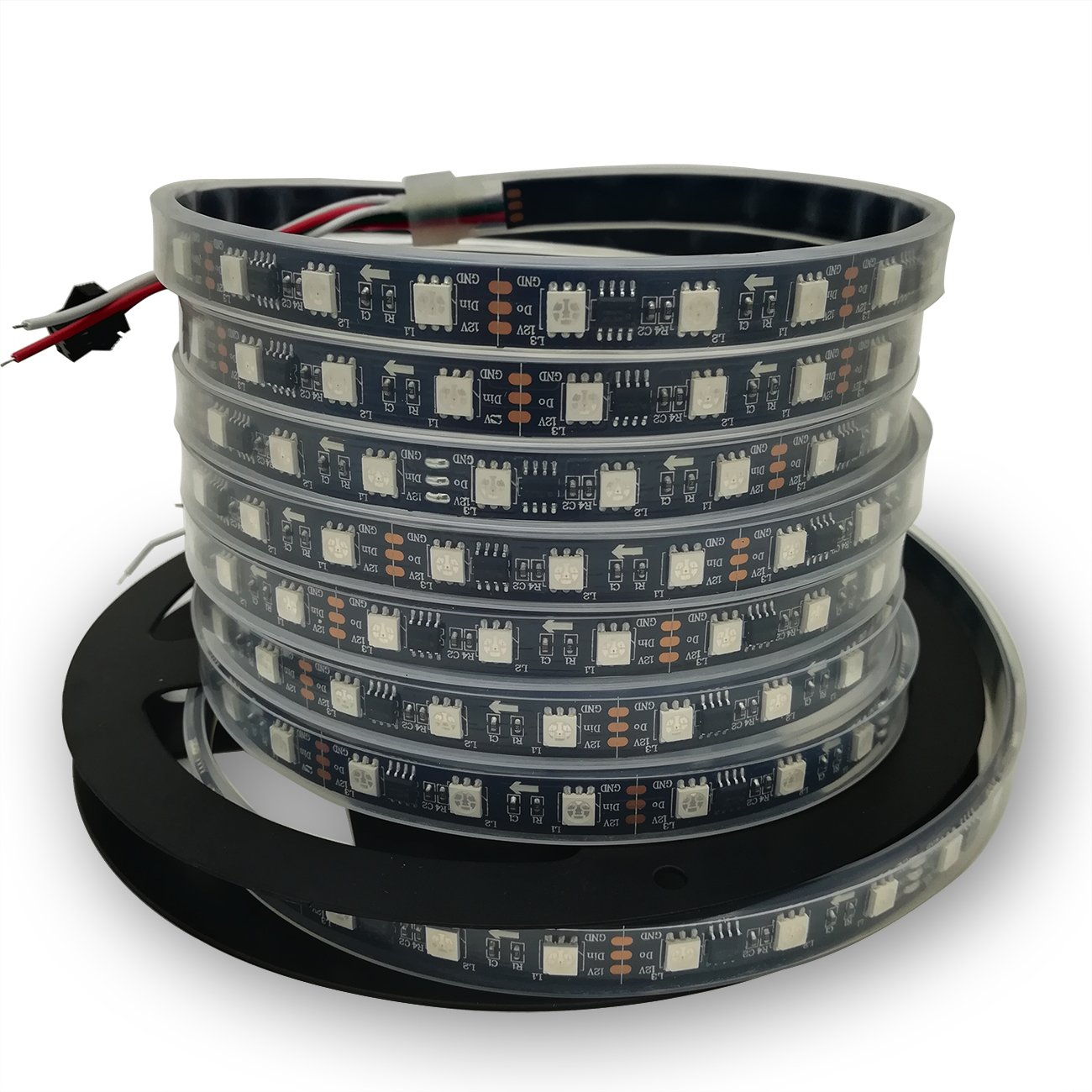 IKSACE 16.4ft WS2811 300LEDs DC 12V Addressable Programmable Dream Color LED Digital Strip Pixel Strings 5050 RGB Flexible Colorful Rope LED Strip (Pack no Remote Controller)