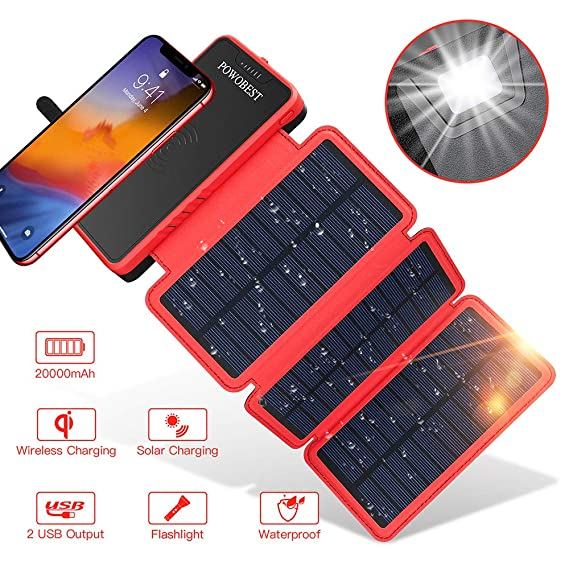 Solar Power Bank Qi Wireless Solar Charger 20000mAh,POWOBEST Portable External Battery with 3 Foldable Solar Panels,Flashlight,TypeC Dual 5V/2.1A USB ...