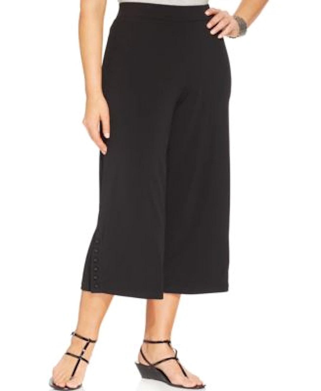 Jm Collection Women Glam Button Capri Plus Size 0x Deep Black