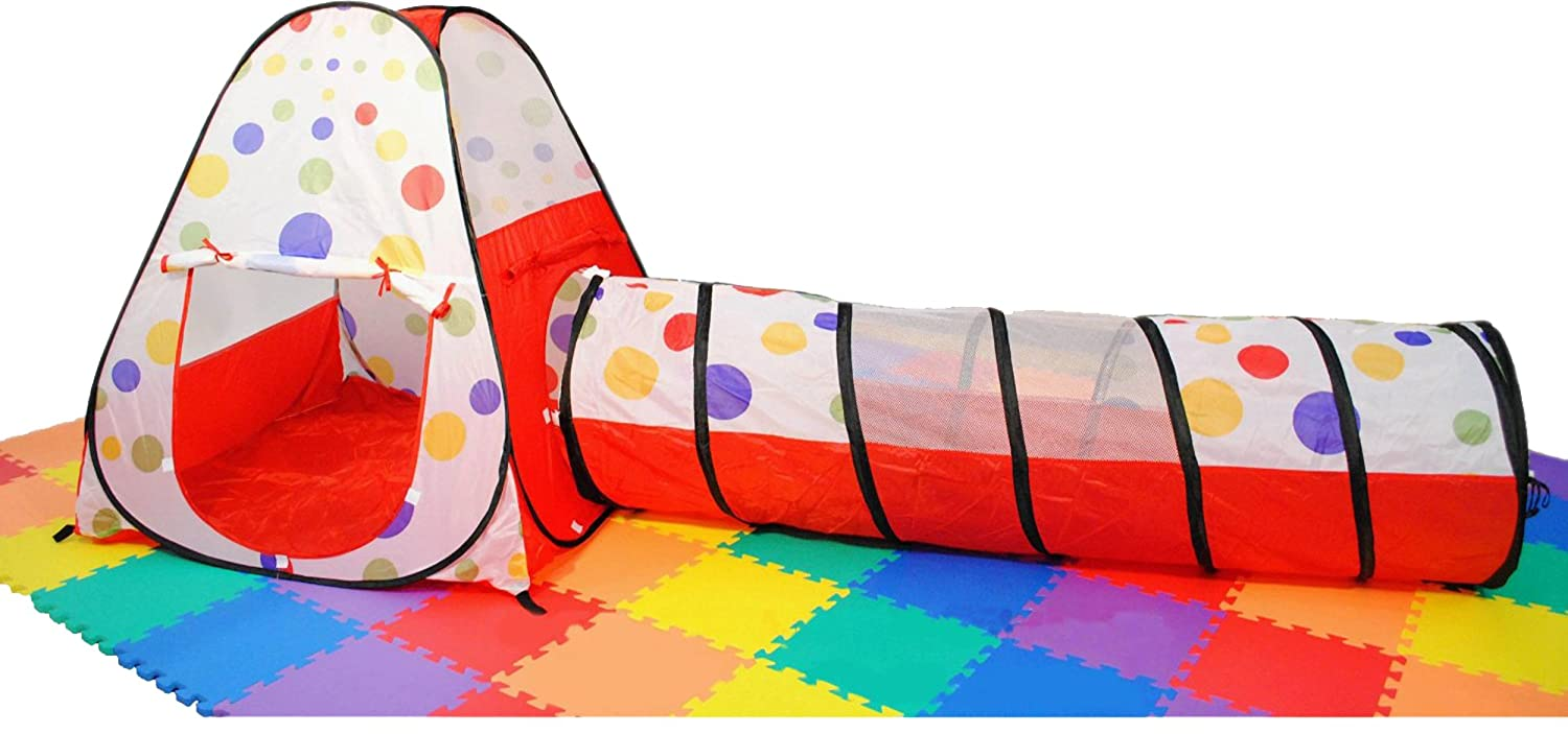 Amazon.com eWonderWorld Polka Dot Teepee Ball Tent House w/ Tunnel u0026 Safety Meshing for Child Play Visibilityl u0026 Tote 2 Piece Toys u0026 Games  sc 1 st  Amazon.com & Amazon.com: eWonderWorld Polka Dot Teepee Ball Tent House w ...
