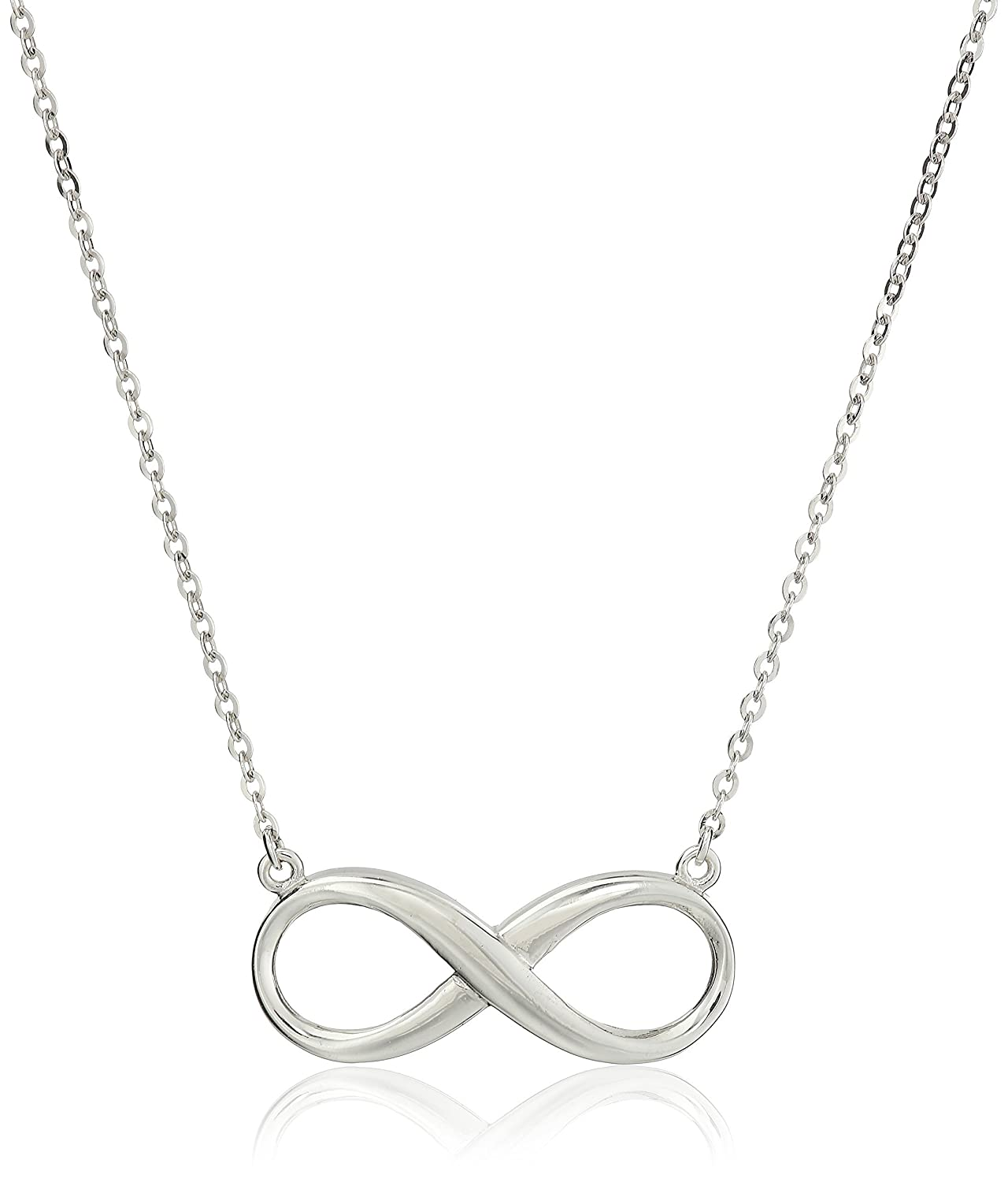 HACOOL 925 Sterling Silver Eternal Infinity Charm with Rolo Link 16-18 Chain Adjustable Necklace