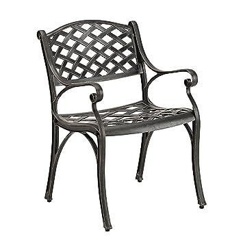 Antique Brown Cast Aluminum Patio Chairs, Set Of 2