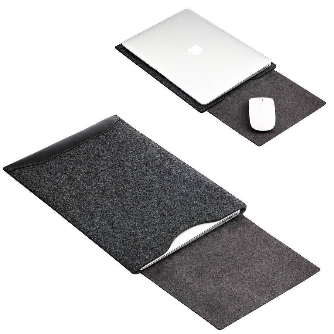 Soyan Leather and Felt Hybrid Laptop Sleeve for MacBook (12-inch, Black) Soyan Technology