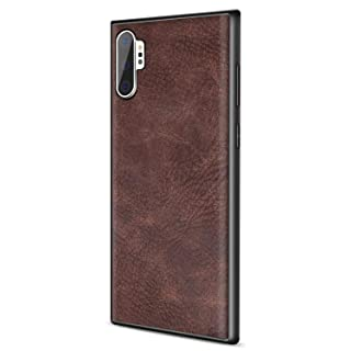 SALAWAT Galaxy Note 10 Plus Case, Slim PU Leather Vintage Shockproof Phone Case Cover Lightweight Soft TPU Bumper Hard PC Hybrid Protective Case for Samsung Galaxy Note 10+ 5G 6.8inch (Dark Brown)
