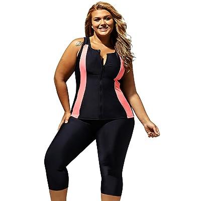 ZKESS Women Color Block Zipper Front Surfing Swim Suit 2PC Swimsuit Rash Guards S - XXXL Plus Size: Clothing