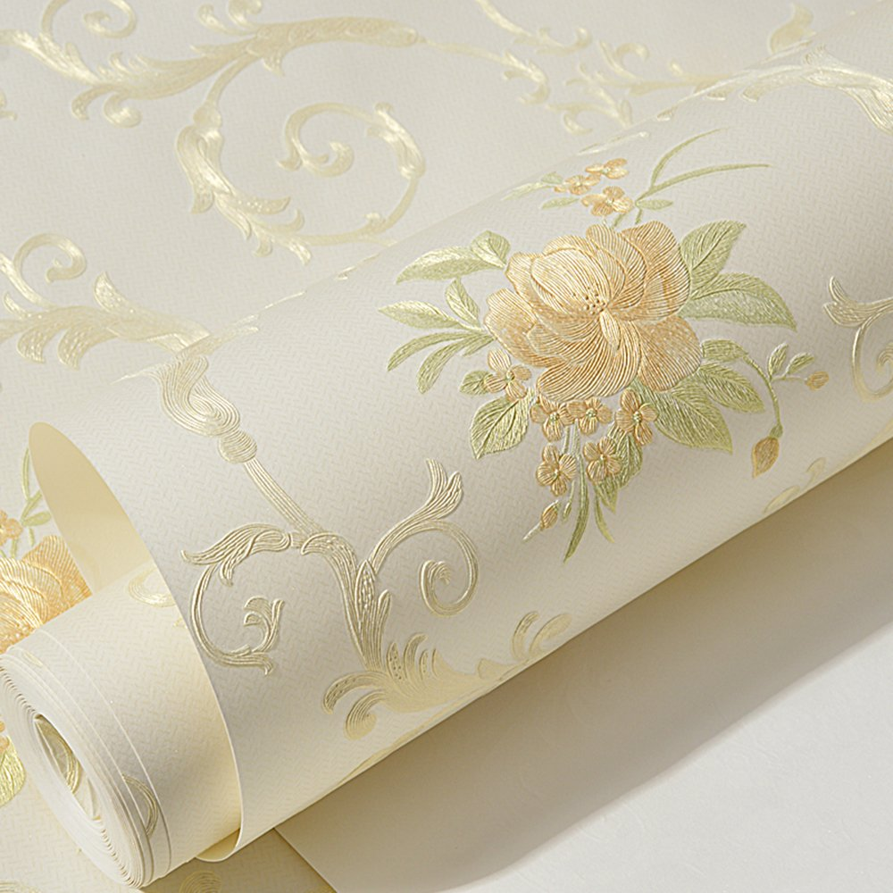 Non-Woven Temporary Self Adhesive Removable Wallpaper Luxury Embossed Floral Mural Wallpaper Stick and Peel Roll 20.83 Inches by 9.8 Feet by Glow4u (Image #2)
