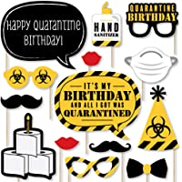 Big Dot of Happiness Happy Quarantine Birthday - Social Distancing Party Photo Booth Props Kit - 20 Count
