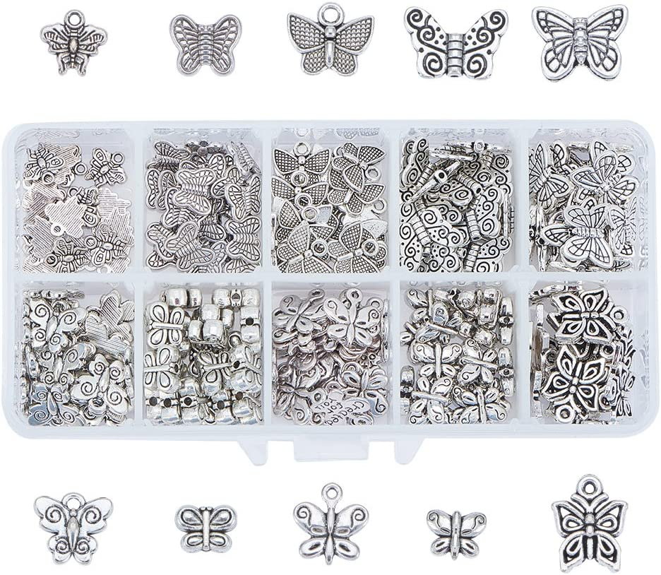 10 Style Angel Wing Alloy Bead 10 Style Antique Silver Spacer Bead 100pcs