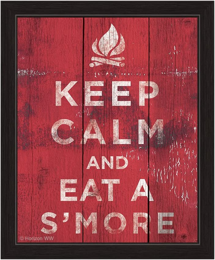 Red Distressed Wood Textured Keep Calm and Eat A Smore Framed Canvas Art Print Wall Décor 8x10