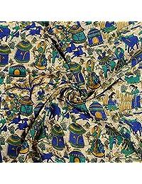 Shopolics Cream-Blue and Green Village Design Kalamkari Manipuri Silk Fabric-16235for Wedding, Festival, Party Wear (1 Yard)