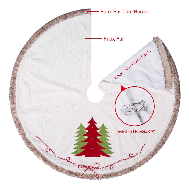 Amazon.com: CELIVESGG Faux Fur Christmas Tree Skirt 48 inch White ...