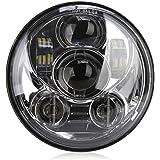 """Rupse 5.75"""" LED Phare Moto Projecteur Daymaker Ampoule Headlight 4000LM High/Low Beam étanche IP65 6000K pour Harley Davidson – Noir"""