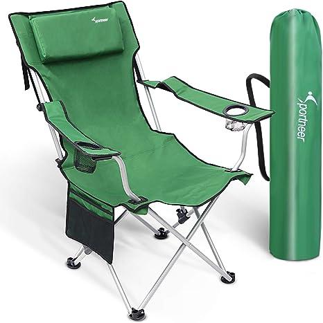 Sportneer Silla de Camping Plegable con Bolsillo Integrado, portátil, Ideal para excursión/Senderismo/Picnic/Pesca/Playa/jardín, Peso de Carga: 160 kg