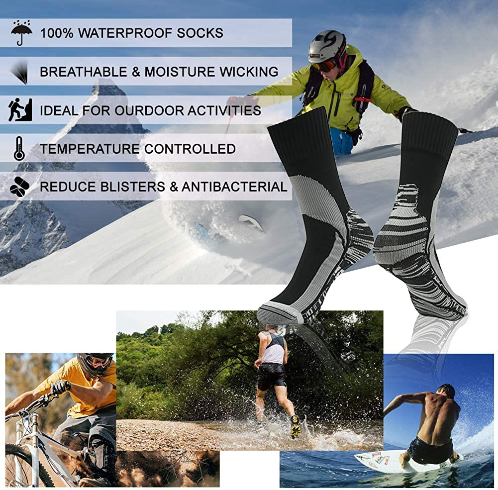 Unisex Hiking Wading Trail Running Skiing Crew Socks RANDY SUN 100/% Waterproof Socks
