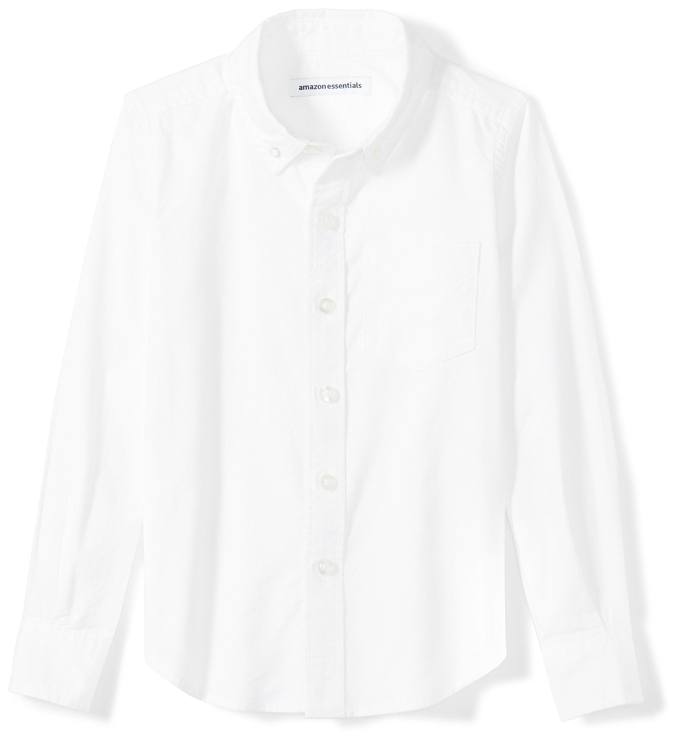 Amazon Essentials Boys' Long-Sleeve Uniform Oxford Shirt, White, M (8)